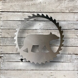 Sawblade Bear - Natural Steel Wall Décor