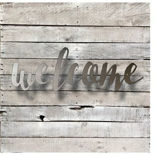 Welcome Word Art - Natural Steel Wall Décor