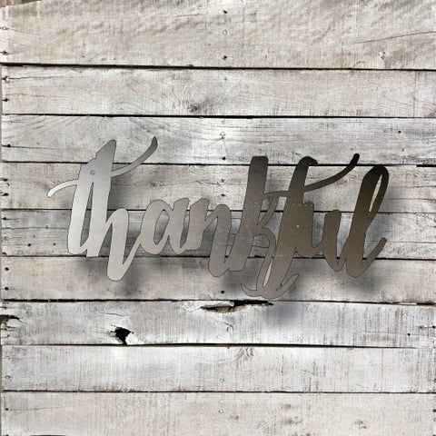 Thankful Word Art - Natural Steel Wall Décor