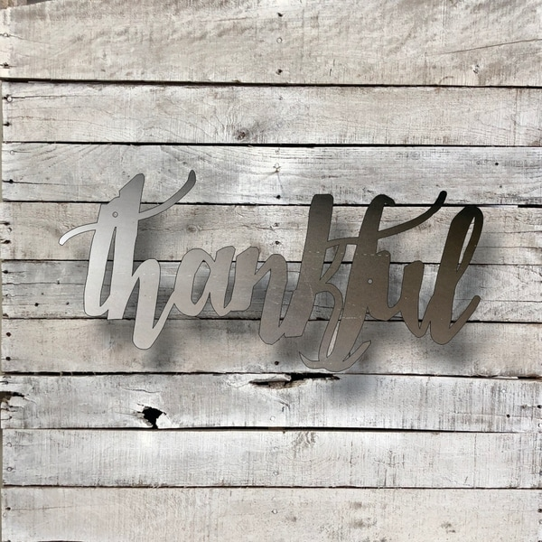 Shop Thankful Word Art - Natural Steel Wall Décor - Free Shipping On ...