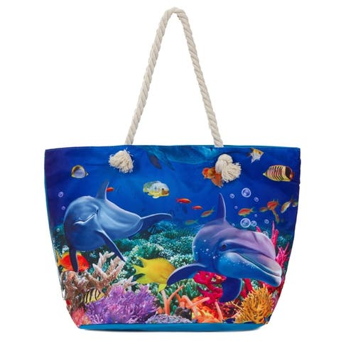 Large Beach Bag Tote Water Resistant Canvas Tote Dolphin by  Looking for