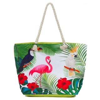 Large Beach Bag Tote, Water Resistant Canvas Tote, Tropical Flamingo