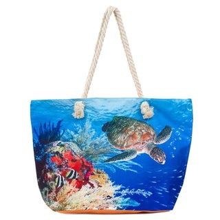 Large Beach Bag Tote, Water Resistant Canvas Tote, Sea Turtle