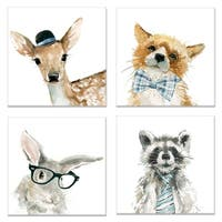 Fox Deer Rabbit Raccoon by Carol Robinson Wrapped Canvas Art Print Set
