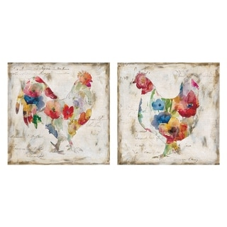 Flowered Hen & Rooster by Carol Robinson Canvas Art Painting Print Set - 20x20x2