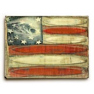 American Flag -Surfboards - 9x12 Solid Wood Wall Decor by Lynne Ruttkay - 9 x 12