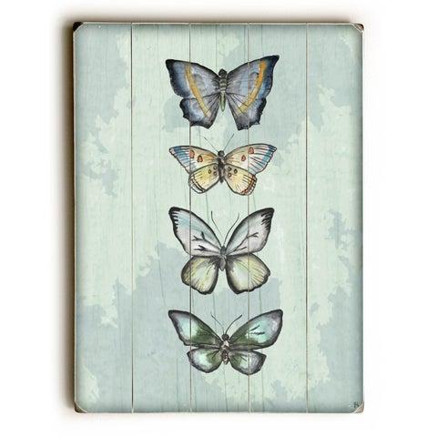 World of Butterflies - Green - 9x12 Solid Wood Wall Decor by Jennifer Rizzo Design - 9 x 12
