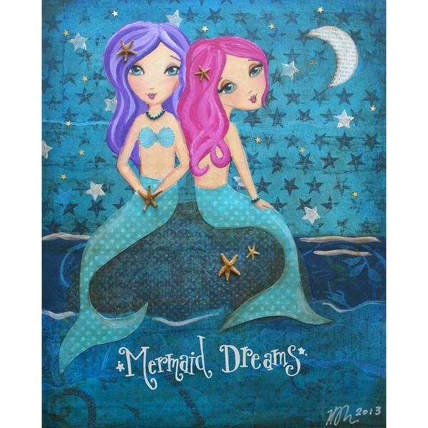 Mermaid Dreams - 9x12 Solid Wood Wall Decor by Heather Rushton - 9 x 12