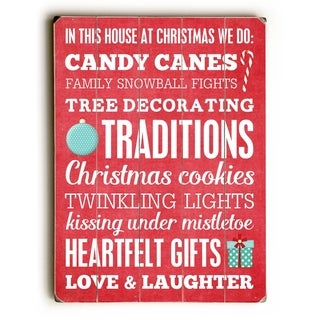 Candy Canes Subway Wall Sign -  9x12 Solid Wood Wall Decor by Cheryl Overton - 9 x 12