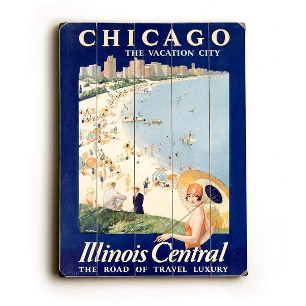 Shop Chicago Illinois Central Train Poster - 9x12 Solid Wood Wall ...