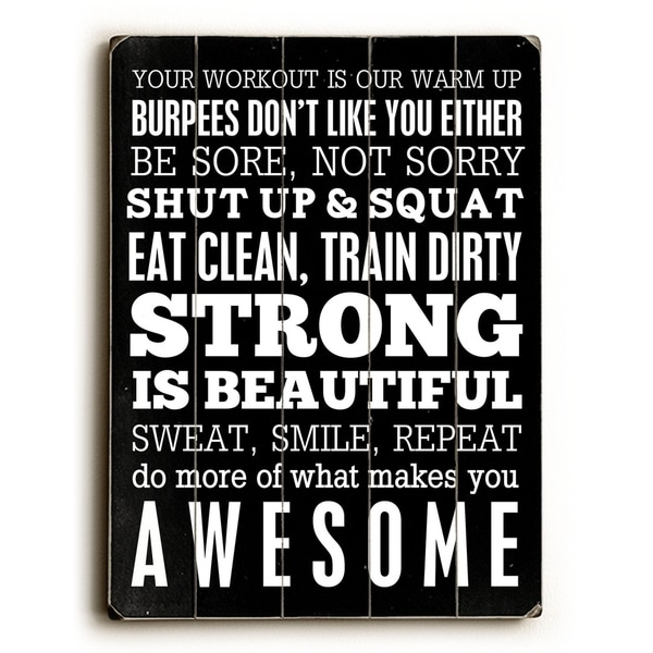 Fitness Motivation - 9x12 Solid Wood Wall Decor by Cheryl Overton - 9 x 12