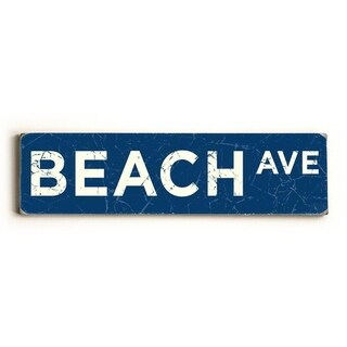 Beach Ave - 6x22 Solid Wood Sign by Peter Horjus - 6 x 22