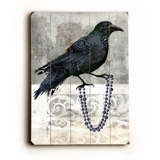 Black Crow -  9x12 Solid Wood Wall Decor by Krista Raak - 9 x 12