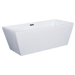 ALFI brand AB8833 59 in. White Rectangular Free Standing Soaking Tub