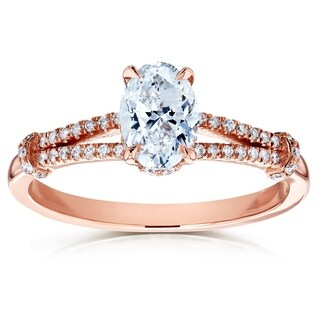 Annello by Kobelli 14k Rose Gold 1 1/10ct TDW Oval Diamond Split Shank Engagement Ring (HI/SI)