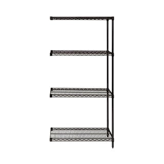 "Quantum Wire Shelving 4 Shelf Black Add On Unit - 18"" x 36"" x 63"""