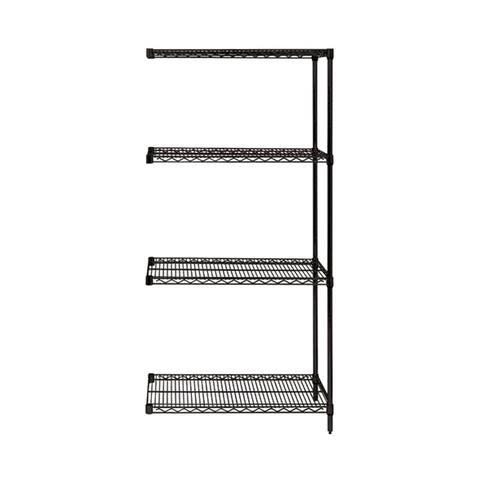 "Offex Wire Shelving 4 Shelf Black Add On Unit - 18"" x 36"" x 63"""