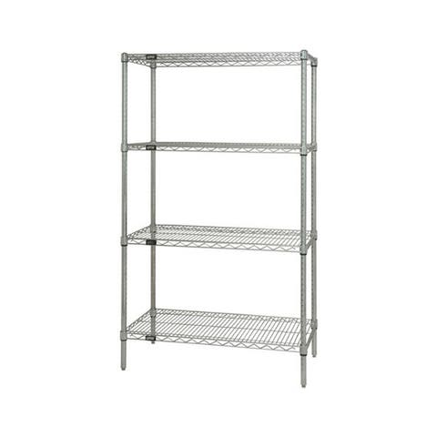"""Offex Stainless Steel Wire Shelving 4 Shelf Starter Unit - 14"""" x 36"""" x 74"""""""