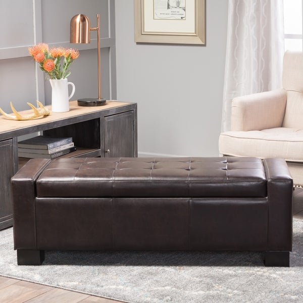 Shop Guernsey Brown Bonded Leather Storage Ottoman Bench