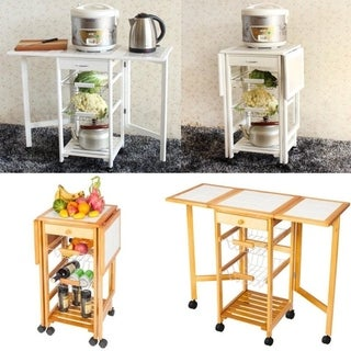 Folding Rolling Wood Trolley Island Kitchen Cart w/2 Baskets&1 Drawer