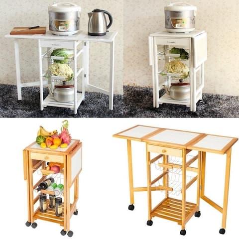 Folding Rolling Wood Trolley Island Kitchen Cart w/2 Baskets&1 Drawer