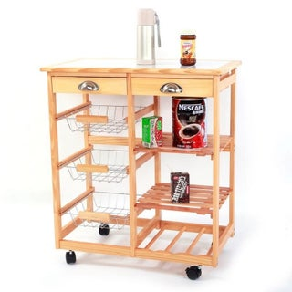 Rolling Wooden Dining Wine Storage Trolley Kitchen Cart w/ Drawers (Option: Beige)