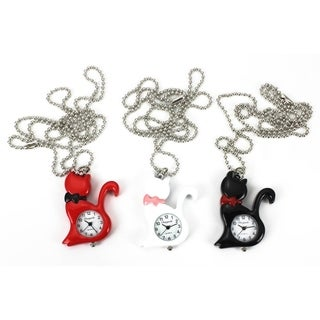 Cat Pendant Necklace Watch Silver Chain