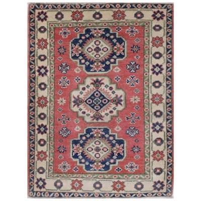 Handmade One-of-a-Kind Kazak Vegetable Dye Wool Rug (Afghanistan) - 2'1 x 2'10