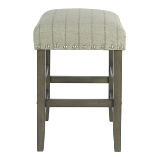 """Homepop 24"""" Counter stool with nailheads - Gray with Brown Stripe"""