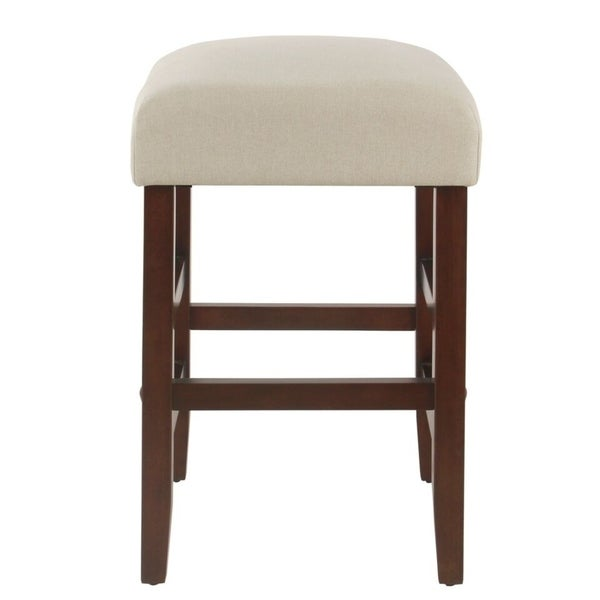 shop homepop stain resistant cream fabric 24 inch backless counter stool on sale free. Black Bedroom Furniture Sets. Home Design Ideas