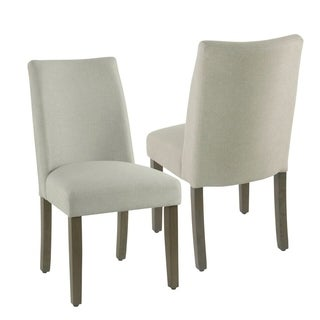 HomePop Marin Curved Back Dining Chair - Stain Resistant Dove Fabric - set of 2