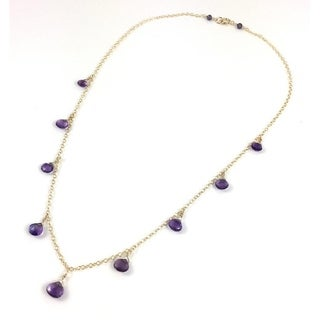Hand Made Gaia Goddess Delicate Gold Amethyst Briolette Necklace