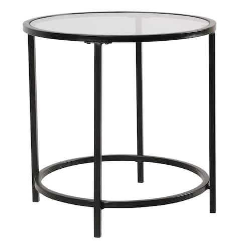 HomePop Round Metal Accent Table with Glass top - Black