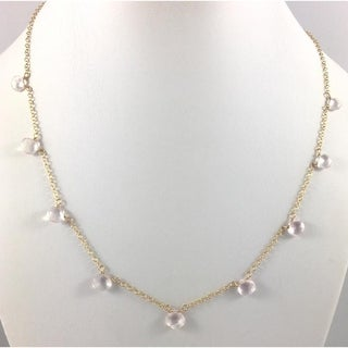Hand Made Rebecca Cherry Gaia Goddess Delicate Rose Quartz Briolette Necklace 16""