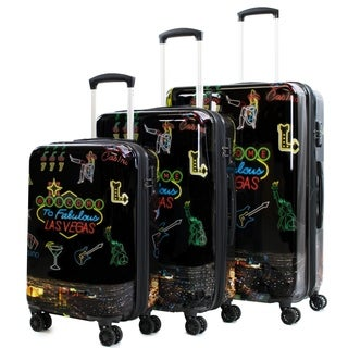AGT Las Vegas 3-Piece TSA Expandable Spinner Suitcase Luggage