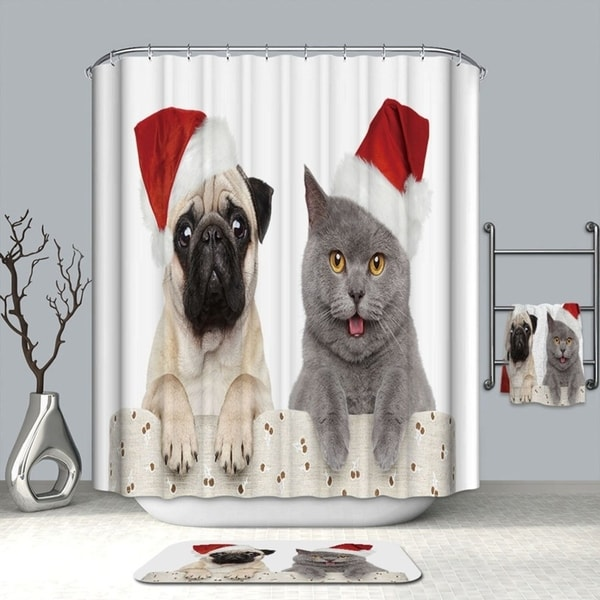 Christmas Cap Dog Amp Cat Printed Waterproof Washable Bathroom Shower Curtain