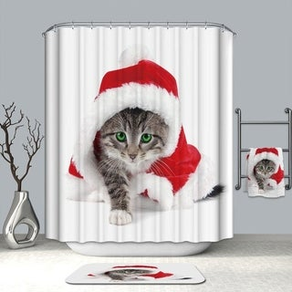 Cute Christmas Cat Printed Shower Curtain Polyester Waterproof Shower Curtain
