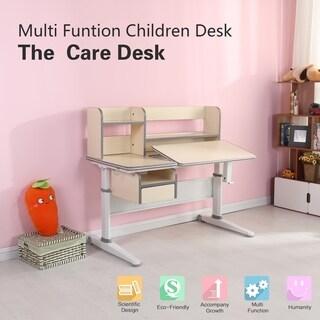 TGEG Kid's Height Adjustable Writing Desk Tilted desktop w/ Book Shelf