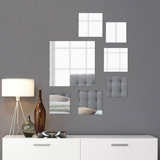 "Square Wall Mirror Mounted Assorted Sizes - Silver - 1 large 10"" , 3 medium 7"" , 3 small 4"" , set of 7"