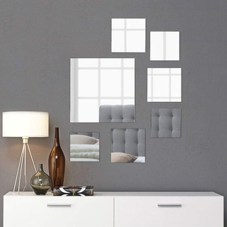 """Square Wall Mirror Mounted Assorted Sizes - Silver - 1 large 10"""" , 3 medium 7"""" , 3 small 4"""" , set of 7"""