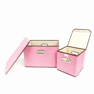 2pcs Fashion Elegant Cloth Art Storage Boxes Pink