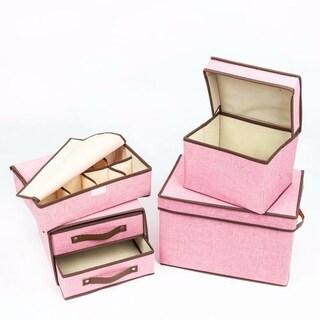 4pcs Storage Small Box & Medium Box & Two Tier's Box & Eight Slots Box Pink