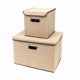 2pcs Fashion Elegant Cloth Art Storage Boxes Khaki