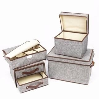 4pcs Storage Small Box & Medium Box & Two Tier's Box & Eight Slots Box Gray