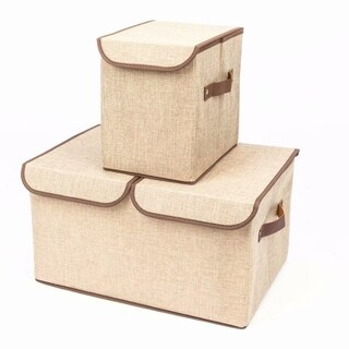 2pcs Storage Boxes Double Cover Box & Single Cover Box Khaki