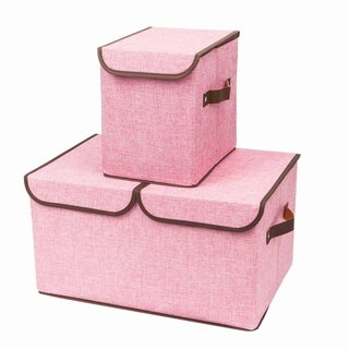 2pcs Storage Boxes Double Cover Box & Single Cover Box Pink