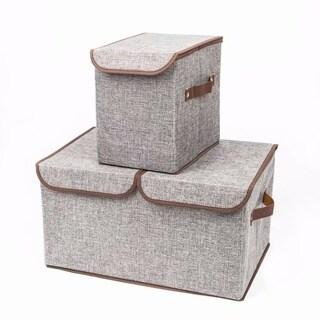 2pcs Storage Boxes Double Cover Box & Single Cover Box Gray