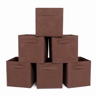6pcs High Quality Non-woven Fabrics Storage Boxes Brown