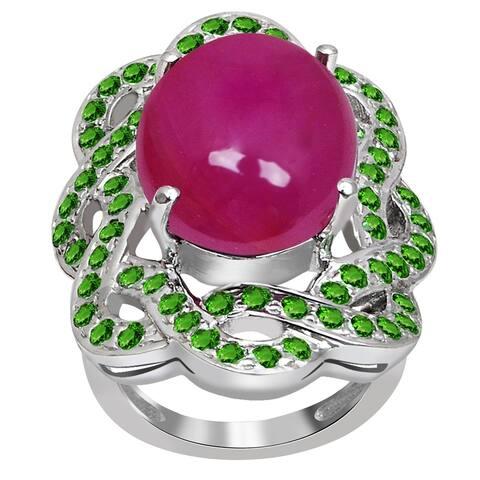 18.0 Carat Ruby & Tsavorite 925 Sterling Silver Engagement Ring