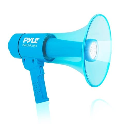 Pyle PMP66WLT Waterproof Megaphone Water Resistant PA Bullhorn Speaker with Siren Alarm and Built in LED Light